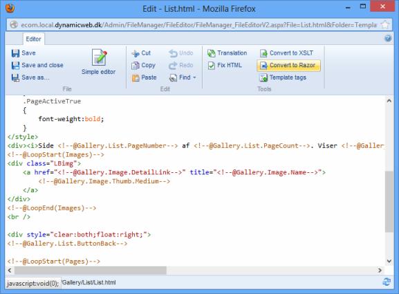 HTML to Razor